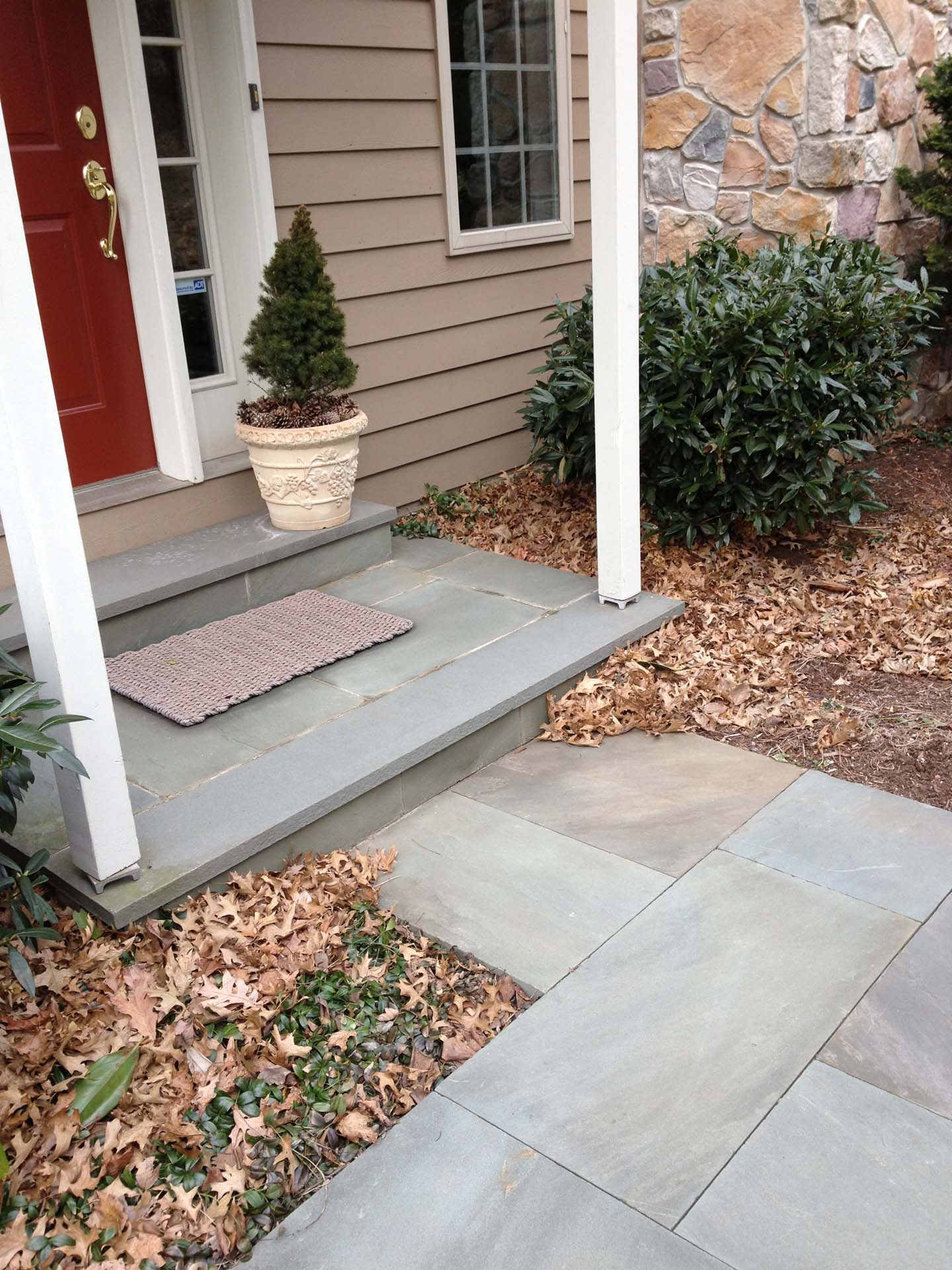 Pointed Joint Flagstone Landing and Steps with Dry pac Random Flagstone Walkway