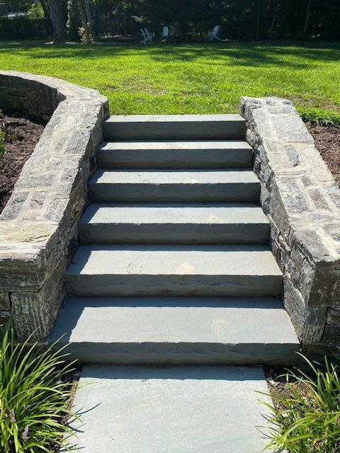Flagstone Stairs with Masonry Block Wall 1