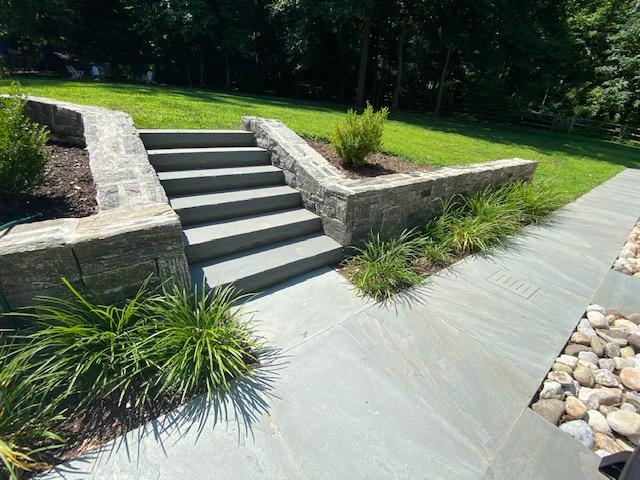 Flagstone Stairs with Masonry Block Wall 2
